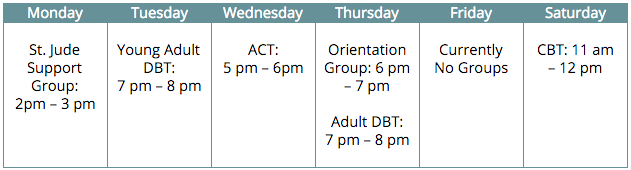 Group Therapy Schedule